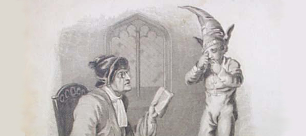 Old print of a school teacher with a switch, and a small child crying wearing a dunce cap.