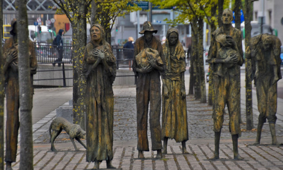 Irish Famine Memorial, Dublin; statues of emaciated victims