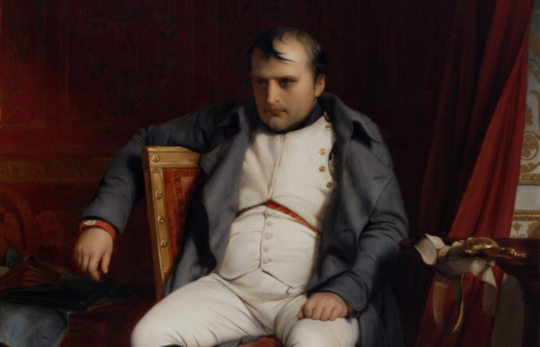 "Detail of Delaroche's 'Napoléon abdiquant à Fontainebleau' (""Napoléon abdicated in Fontainebleau""),"