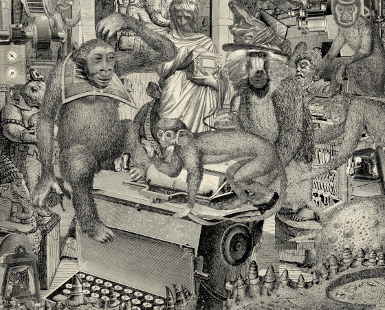 Monkeys and other primates with a typewriter.