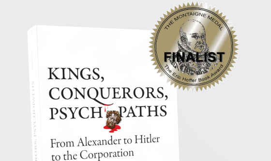 Cover of the book with a gold Montaigne Medal with the word 'Finalist' across it.
